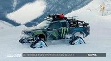 Ken Block et son Ford Raptor équipé de chenilles à fond sur la neige ! - ZAPPING AUTO DU 14/12/2015