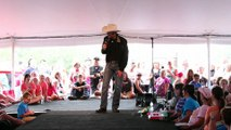 Cody Slaughter chats with the tent crowd at Elvis Week 2015
