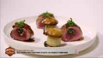 Le plat de Clara: selle d'agneau farcie façon tourte de blette, jus d'agneau et champignons