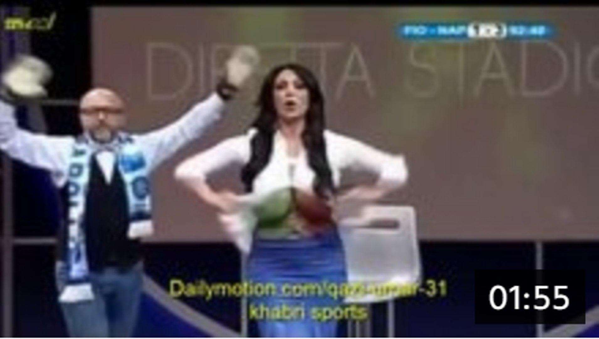 After Winning the Football Match Tv Anchor open the shirt