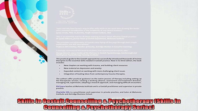 Skills in Gestalt Counselling  Psychotherapy Skills in Counselling  Psychotherapy
