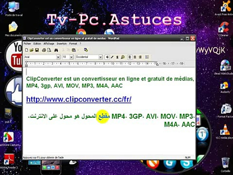 ClipConverter est un convertisseur en ligne et gratuit de médias MP4 3gp  AVI MOV MP3 M4A AAC