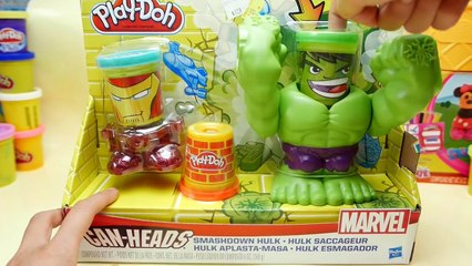 Play-Doh HULK SMASHDOWN - Can Heads IRON MAN Marvel Superhero Playdough Toys
