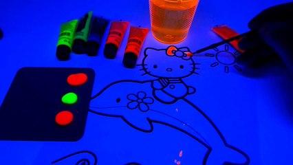 Hello Kitty Neon Painting  Black Light Fun for Kids - DIY