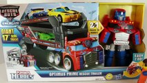 review toys Transformers Optimus Prime Rescue Trailer with Lego Emmet and Disney Cars Todd Toys