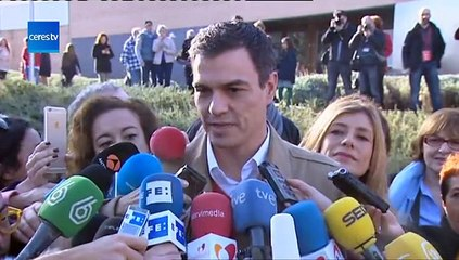 Pedro Sánchez 'Estamos en una jornada histórica, huele a cambio'
