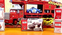 Disney Pixar Cars Fire Rescue Squad Mack Hauler With Tomy Lightning McQueen Mater Police S