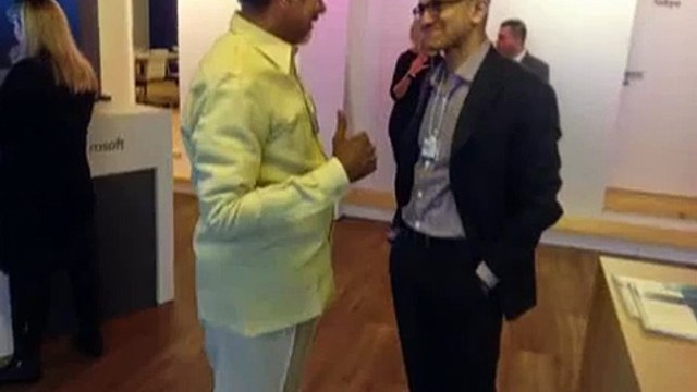 Andhra Pradesh CM Chandrababu Naidu meet Bill Gates and Satya Nadendla