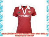 [18-20] LADIES WOMENS WELSH CYMRU CLASSIC RUGBY V COLLAR COTTON POLO T-SHIRT TOP