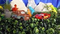 Fighting Dinosaurs Battle Dinosaur Toys for Children Disney Cars Toys Lightning McQueen and Mater