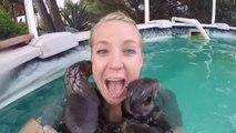 Une fille se baigne avec des bébés loutres