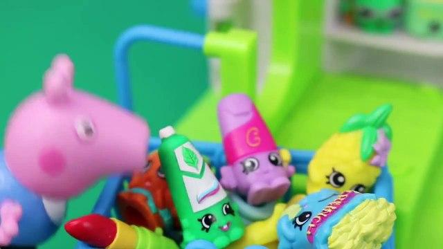 the Peppa Pig Runaway George! Shopkins Adventure with Frozen Elsa and Anna Dolls DisneyCarToys