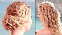 Christmas hairstyle for medium long hair tutorial Braided curly holiday updo