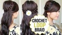 Crochet Loop Braid Hair Tutorial | Half Updo Prom Hairstyle