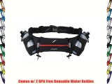 Fitletic 12-oz Hydration Belt Red rot - rouge - Noir/Rouge Size:Small/Medium (24-36 waist)