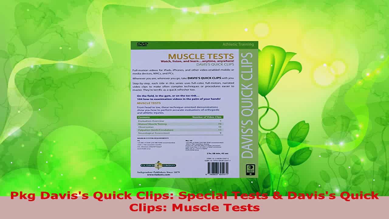 Download  Pkg Daviss Quick Clips Special Tests  Daviss Quick Clips Muscle Tests EBooks Online