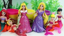 Play Doh Mermaids Frozen Mermaid Rapunzel Belle Cinderella Magiclip Dolls Disney Princess