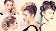 Rockstar hair tutorial: Kieszaa faux hawk hairstyle, retro curls, punk updo for medium long hair