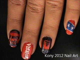 Kony 2012 nail art- Easy Kony 2012 nail design- tutorial- nail art designs- beginners- short nails