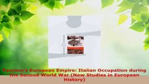 Download  Fascisms European Empire Italian Occupation during the Second World War New Studies in PDF Free