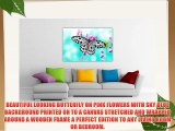 SKY BLUE FLORAL CANVAS WALL ART PICTURES BUTTERFLY ON PINK FLOWERS ROOM DECORATION PRINT PICTURE