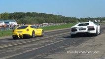 Ferrari F12 vs. Lamborghini Aventador vs. Huracán - Dragraces!