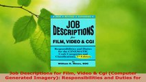 Download  Job Descriptions for Film Video  Cgi Computer Generated Imagery Responsibilities and Ebook Free