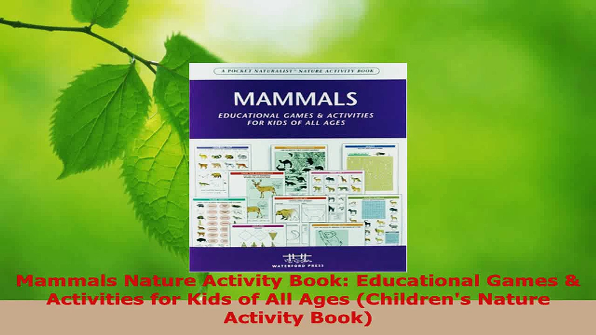 Download  Mammals Nature Activity Book Educational Games  Activities for Kids of All Ages Ebook Free