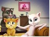 Rain, Rain, Go Away Nursery Rhyme With Lyrics -Funny Cats Talking Tom & Angela & Ginger 2
