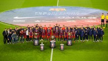 FC Barcelona present their 5 trophies to Camp Nou