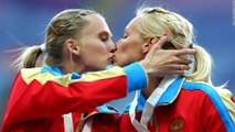 Athletes Kissing Each Other