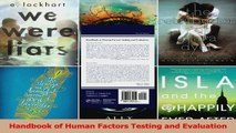PDF Download  Handbook of Human Factors Testing and Evaluation PDF Full Ebook