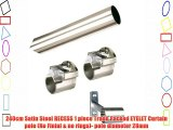 240cm Satin Steel RECESS 1 piece Trade Packed EYELET Curtain pole (No Finial
