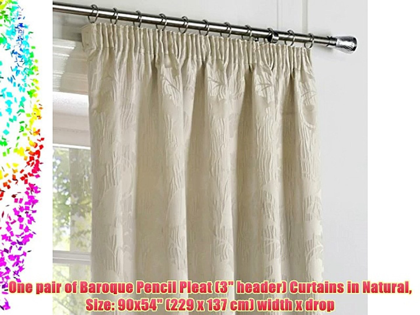 One pair of Baroque Pencil Pleat (3 header) Curtains in Natural Size: 90x54 (229 x 137 cm)