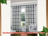 Isla check eyelet lined curtains natural 46 x 90 (116cm x 228cm)