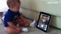 Cute baby talks with cat on Ipad - Funny babies, cats, animals - Cute babies, cats, animals