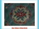 Circular Chinese Wool Rugs Handmade Traditional Design 120cm x 120cm In Green