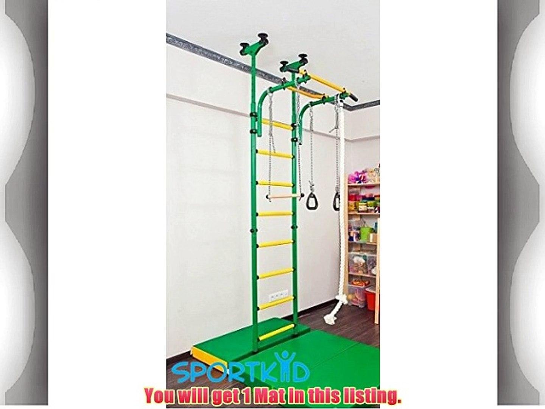 Gymnastics Green/Yellow Soft Mat for Kids - Playground Indoor Matting - Children's Sport Large
