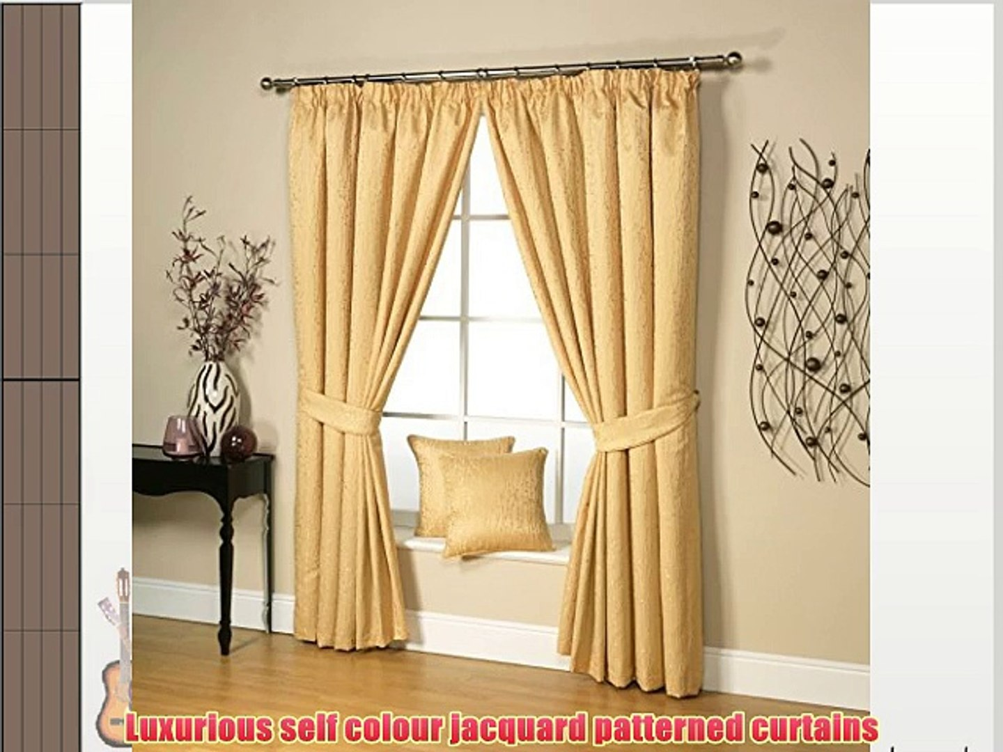 Pair of Chocolate 90/'/' x 90/'/' Pencil Pleat Fully Lined Jacquard Swirl Curtains