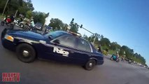 Motorcycle VS Cops Chasing Bikers Swerves At Stunt Bikes Police Chase Street Bike Runs From Cop 2015