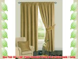 46 x 90 Plain Gold / Latte Chenille Heavy Thermal Ready made Fully Lined Pleated Curtain Pair