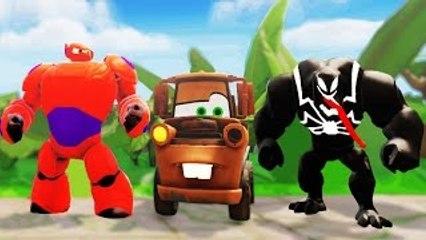 BAYMAX and VENOM Marvel Superheroes meets Disney Pixar Cars TOW MATER ! Fun Kids video