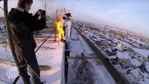 Man on Fire Building Jump | 9 Story Drop of Doom