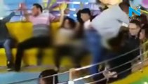 oh no! Woman suffer serious wardrobe malfunction on ride