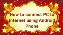 How to connect mobile internet to pc. How to connect PC to internet via android phone Urdu/Hindi
