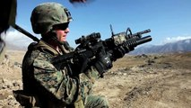 US Marines Flood a Hill With Massive Amount of Grenade Launcher Rounds M203 Mounted on M4