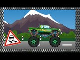 ✔ Cars Cartoons Compilation. Monster Truck with Sport Cars jumping through a bus and motorbike ✔