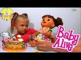 ✔ Alive Doll. Little girl Yaroslava feeds her new interactive Baby Doll / Video for kids / VLOG ✔
