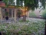 Ice cube hailing rain