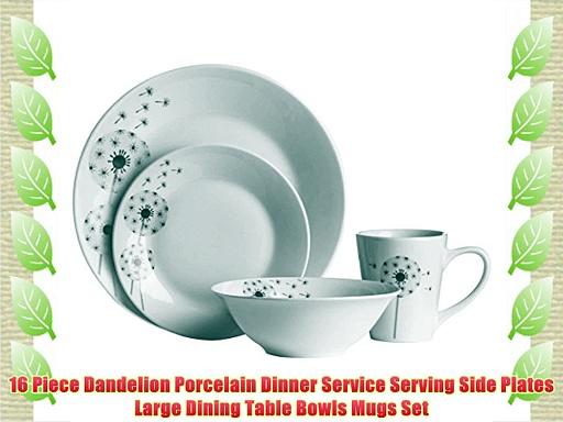 16 Piece Dandelion Porcelain Dinner Service Serving Side Plates Large Dining Table Bowls Mugs